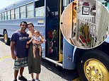 Couple with a one year old baby ditched their 1,000 square foot townhouse to refurbish a school bus