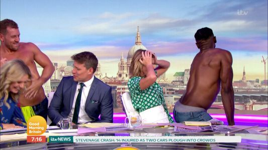 Kate Garraway spanks topless stripper as Good Morning Britain copies Love Island's Buffest Builder challenge
