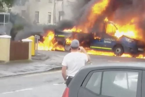 WATCH: Dramatic video shows van engulfed in flames near airport