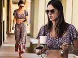Alessandra Ambrosio flashes her flat abs in floral crop top and matching trousers