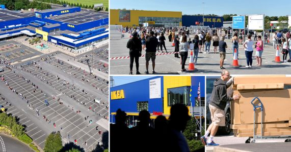 Thousands queue for hours in sun as Ikea reopens 19 stores