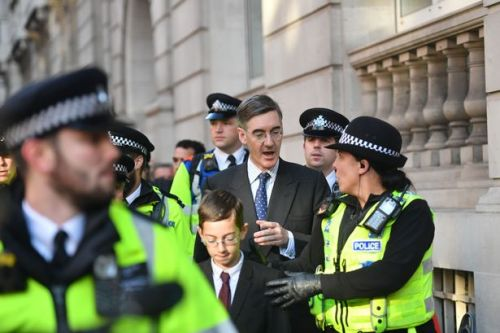 Jacob Rees-Mogg suggests crackdown after protesters shout at Tory and his son