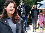 Jenna Dewan bundles up as she and Steve Kazee take an afternoon stroll with their newborn son Callum