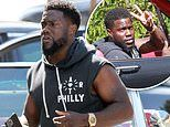 Kevin Hart wears a hoodie repping his 2015 concert tour as he cruises in his Mustang convertible