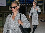 Molly Sims keeps casual in a checked coat and jeans as she jets to Paris Haute Couture Fashion Week