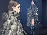 Kaia Gerber cuts a quirky figure in a green spiked coat forMoncler's Milan Fashion Week show