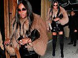 Naomi Campbell, 49, exudes style in a sequinned mini dress and chic fluffy jacket