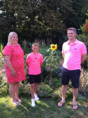 Boy's family visits memorial sunflower planted by the Duchess of Cambridge