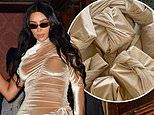 Kim Kardashian wears a gold velvet gown that looks like her Christmas wrapping