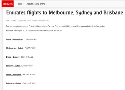 Emirates Halts Flights To And From Australian Cities Indefinitely
