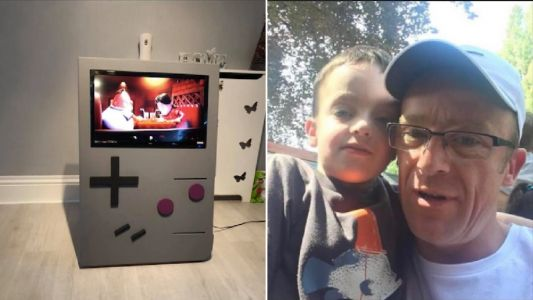 Dad creates amazing giant Game Boy for £40 - and it works
