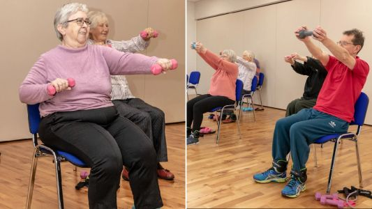 Woman creates chair-based workouts for elderly clients to get fit sitting down