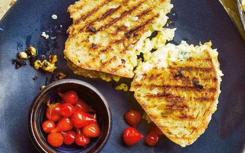 Creamed-corn, cheddar and spring-onion toasties recipe