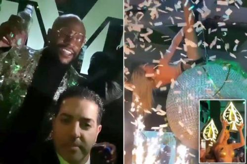Inside Floyd Mayweather's birthday bash as fake money is thrown at strippers