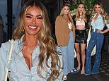 TOWIE's Chloe Sims flaunts her assets in a denim shirt on a girls night out with Frankie and Demi
