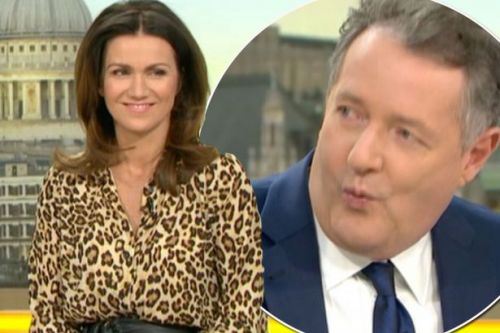 Susanna Reid's leopard skin top and black leather skirt get Piers Morgan excited