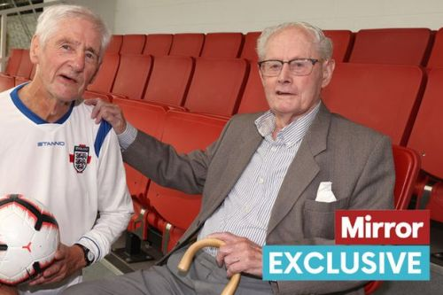 Pensioner makes debut for England at age of 79 - and is cheered on by his dad