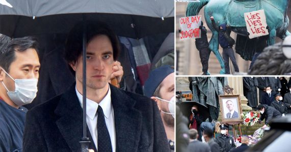 Robert Pattinson pictured filming funeral scene for The Batman in Liverpool