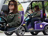 Melissa McCarthy proves she's a cool mom as she takes her daughter for a spin in a custom golf-cart