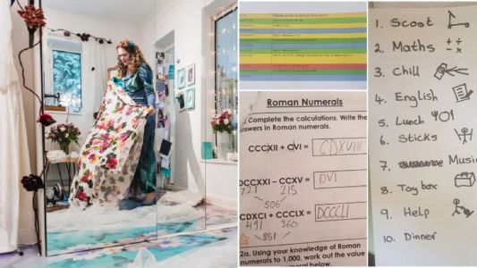 My Quarantine Routine: Holly, a 40-year-old wedding and prom dress designer who is homeschooling two kids