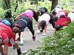 Chinese pensioners crawl 'like turtles' every day 'to exercise their bodies and live longer'