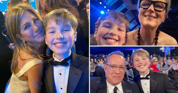Iain Armitage takes the best selfies at the SAG Awards with Tom Hanks, Meryl Streep and Jennifer Aniston and we're seething with jealousy