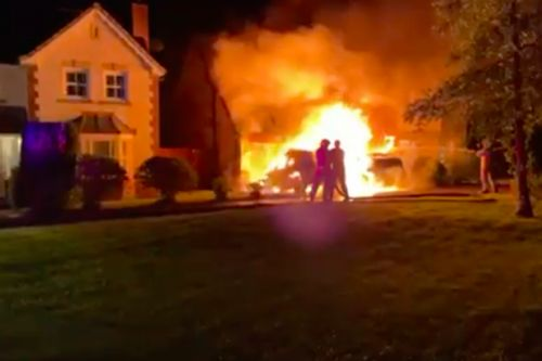 Moment firebomb attack at Scots Tory councillor's home spreads to his bedroom