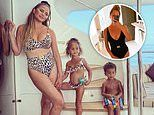 Chrissy Teigen does a quick swimwear change going from a black one piece to a cheetah print bikini