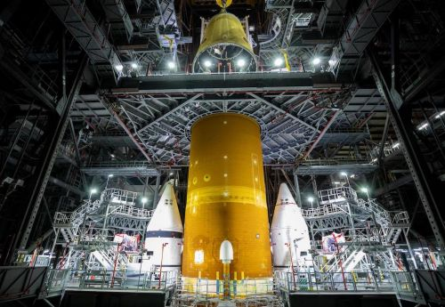 Interstage adapter installed on Space Launch System