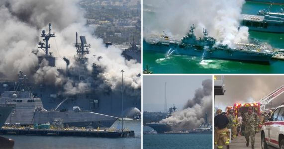 Eighteen sailors injured after huge explosion on US military ship