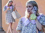 Pregnant Emma Roberts is glorious in babydoll dress with Peter Pan collar on outing in LA