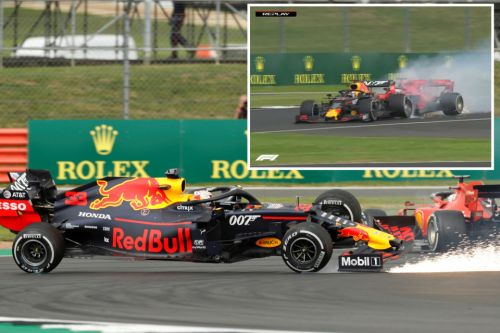 Watch Vettel and Verstappen crash at British GP before both cars spin off track