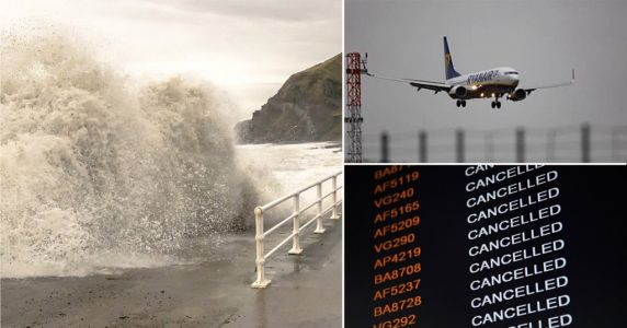 Hundreds of flights cancelled as Storm Dennis batters UK with 90mph winds