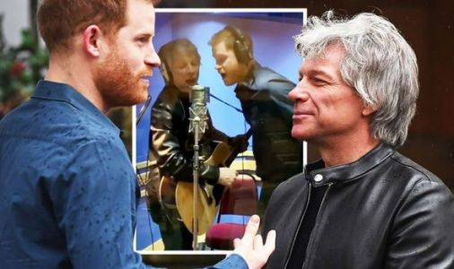 Prince Harry looks nervous as he takes deep breath before singing with Jon Bon Jovi