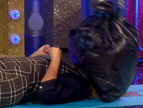 Holly Willoughby screams in terror as rotten BIN BAG drops on her face in gross Celeb Juice game