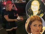 Moment 'Molotov sister', 27, 'throws petrol bomb at police van with four NYPD officers inside'