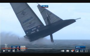 Frantic footage of capsizing America's Cup racer