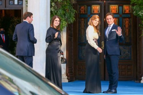New mum Princess Beatrice and sister Eugenie stun in designer gowns at Athens wedding with husbands