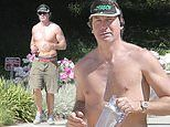 Jerry O'Connell, 47, places his toned frame on full display as he goes for a solo run in Calabasas