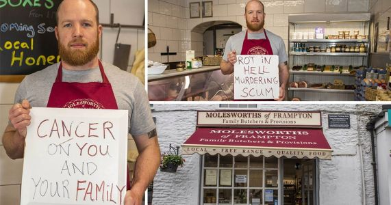 Vegans leave sign at butchers wishing 'cancer on your family'