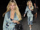 Lottie Moss teases her cleavage in a silky nightwear-inspired ensemble with Made In Chelsea friends