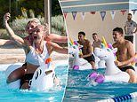 Lionesses splash about in swimming pool on inflatable unicorns as they prepare for World Cup last-16