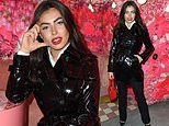 Love Island's Francesca Allen vamps things up in a PVC belted raincoat