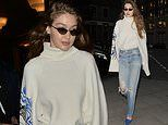 Gigi Hadid puts on a chic display in cream jumper with unusual blue face design