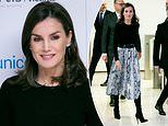 Queen Letizia of Spain wows in recycled Zara snakeskin skirt in Madrid