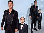 Robin Thicke and son Julian look sharp in suits as they attend the Hollywood for Science Gala