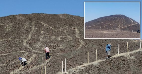 Massive 2,200-year-old cat unearthed on hillside in Peru