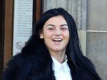 Thug, 23, laughs outside court after she admits battering student, 19, with a baton in brutal attack