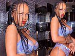 Rihanna rocks a lavender thong and matching lacy bra from her lingerie brand Savage X Fenty