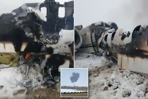 Afghanistan plane crash: First footage of burning wreckage of 'US military' jet